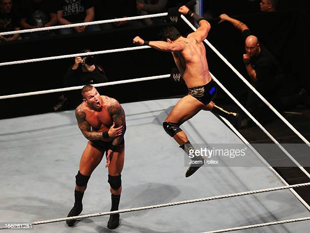 Randy Orton competes in the ring against Wade Barrett during the WWE SmackDown World Tour at O2 World on November 2 2012 in Hamburg Germany