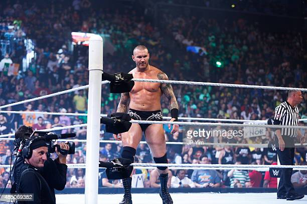 Randy Orton enters the ring at the WWE SummerSlam 2015 at Barclays Center of Brooklyn on August 23 2015 in New York City