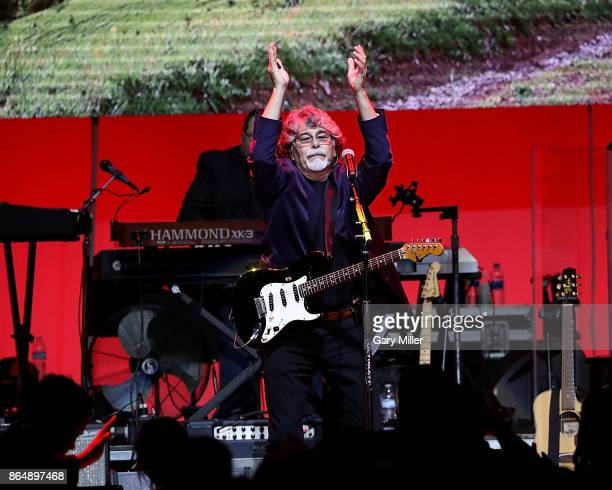 Randy Owen of Alabama performs in concert during the 'Deep From The Heart One America Appeal Concert' at Reed Arena on October 21 2017 in College...
