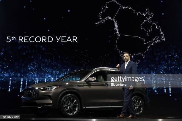 Randy Parker vice president of Infiniti Americas at Infiniti Motor Co speaks during the Nissan Motor Co Infiniti QX50 sports utility vehicle reveal...