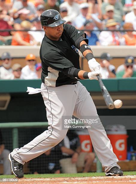 Randy Ruiz of the Toronto Blue Jays bats against the Detroit Tigers during a spring training game at Joker Marchant Stadium on March 25 2010 in...