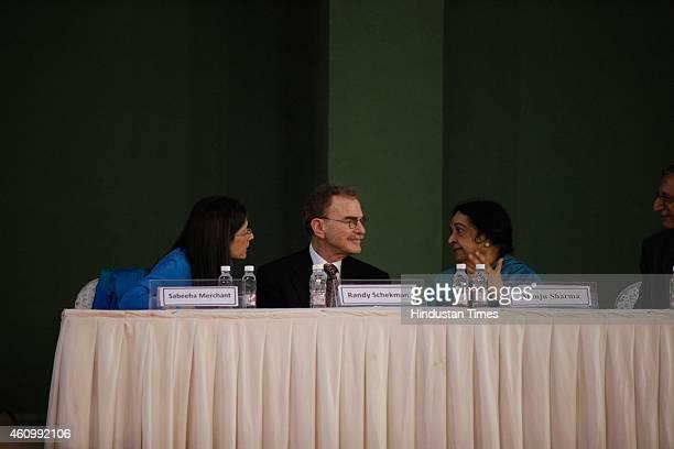 Randy Schekman Nobel Prizewinning American cell biologist at the University of California Sabeeha Merchant and Manju Sharma during the 102nd Indian...