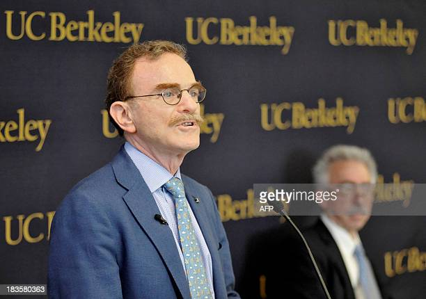 Randy Schekman speaks during a press conference at the University of California Berkeley after he was informed that he is the cowinner of the 2013...