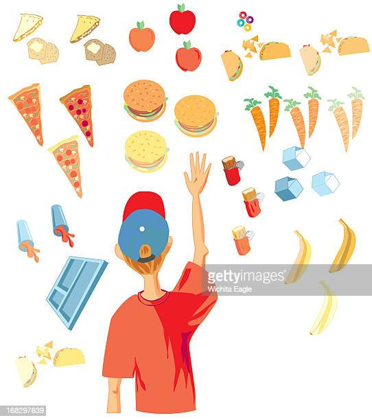 Randy Stephenson color illustration of boy facing scattered images of different foods