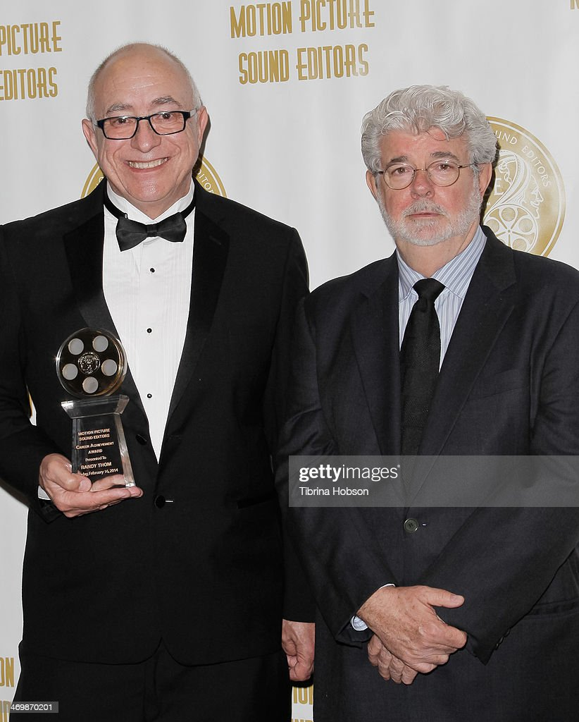 Randy Thom and George Lucas attend the 61st motion picture sound editors 'Golden Reel' award ceremony at Westin Bonaventure Hotel on February 16 2014...
