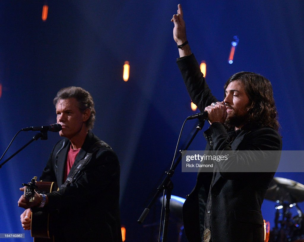 Randy Travis and Scott Avett perform during CMT Crossroads: The Avett Brothers And Randy Travis tape at The Factory, Liberty Hall in Franklin, Tennessee on October 24, 2012 The Avett Brothers And Randy Travis airs only on CMT November 23rd 2012