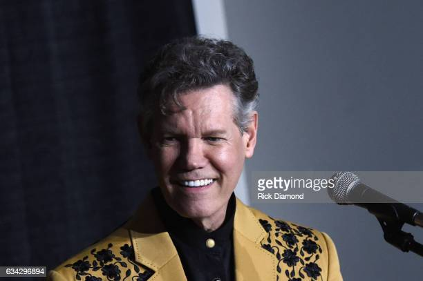 Randy Travis speaks at a press conference during 1 Night 1 Place 1 Time A Heroes Friends Tribute to Randy Travis at Bridgestone Arena on February 8...