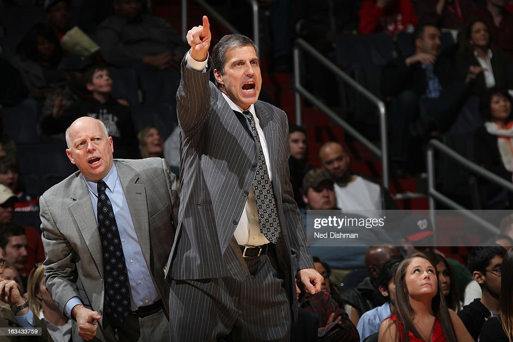 Randy Wittman Head Coach of the Washington Wizards directs play against the Charlotte Bobcats during the game at the Verizon Center on March 9, 2013 in Washington, DC.