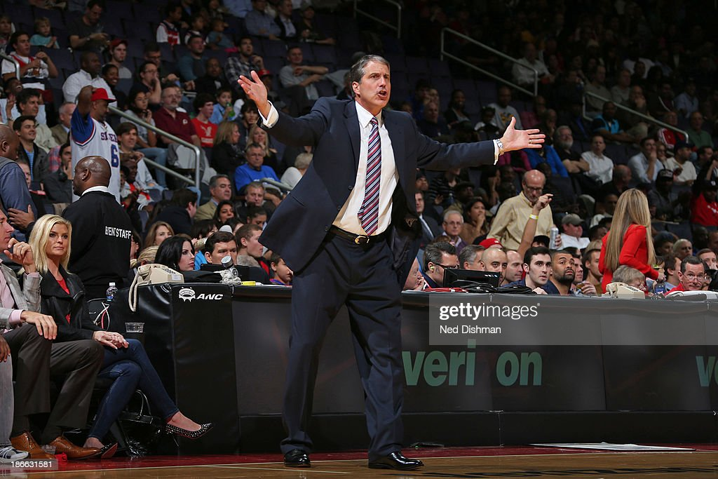 <a gi-track='captionPersonalityLinkClicked' href=/galleries/search?phrase=Randy+Wittman&family=editorial&specificpeople=679109 ng-click='$event.stopPropagation()'>Randy Wittman</a>, Head Coach of the Washington Wizards reacts to a call against the Philadelphia 76ers at the Verizon Center on November 1, 2013 in Washington, DC.