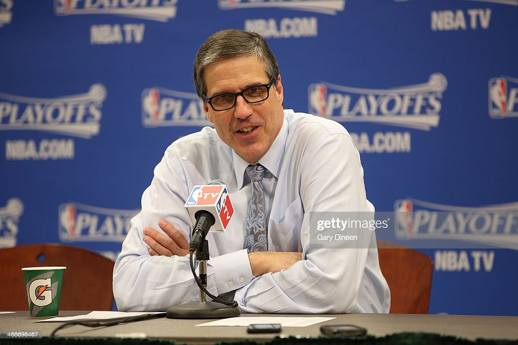 <a gi-track='captionPersonalityLinkClicked' href=/galleries/search?phrase=Randy+Wittman&family=editorial&specificpeople=679109 ng-click='$event.stopPropagation()'>Randy Wittman</a> Head Coach of the Washington Wizards speaks to the media after a game against the Indiana Pacers in Game Two of the Eastern Conference Semifinals of the 2014 NBA playoffs on May 7, 2014 at Bankers Life Fieldhouse in Indianapolis, Indiana.