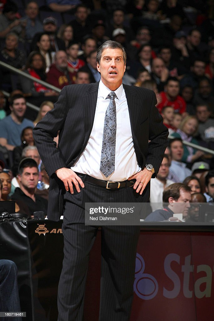 Randy Wittman Head Coach of the Washington Wizards watches from the sidelines against the Los Angeles Clippers during the game at the Verizon Center on February 4, 2013 in Washington, DC.