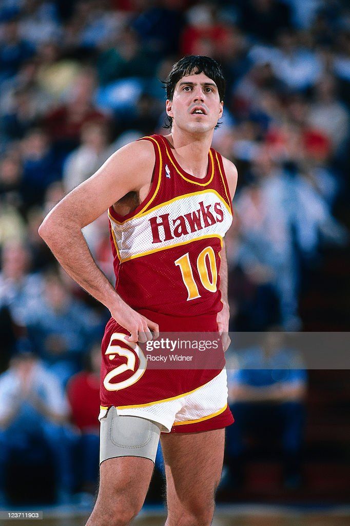 Randy Wittman of the Atlanta Hawks looks on against the Sacramento Kings on December 13 1987 at Arco Arena in Sacramento California NOTE TO USER User...