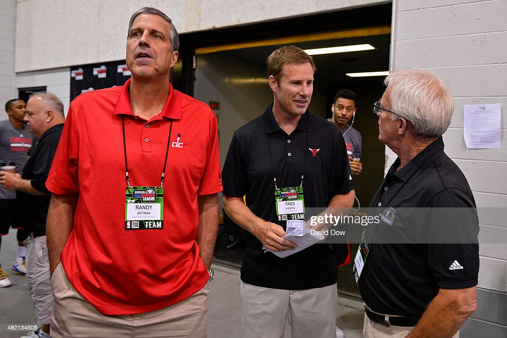Randy Wittman of the Washington Wizards and Fred Hoiberg of the Chicago Bulls talk during the 2015 Summer League at The Cox Pavilion on July 15, 2015 in Las Vegas, Nevada.