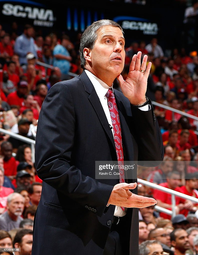 Randy Wittman of the Washington Wizards calls a play to his team during Game One of the Eastern Conference Semifinals of the 2015 NBA Playoffs...