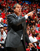 Randy Wittman of the Washington Wizards calls out to his players against the Atlanta Hawks during Game Two of the Eastern Conference Semifinals of...