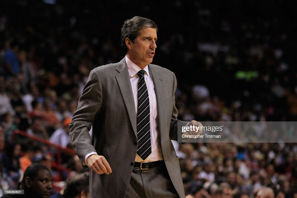 Randy Wittman of the Washington Wizards coaches his team against the Miami Heat at American Airlines Arena on January 6, 2013 in Miami, Florida.