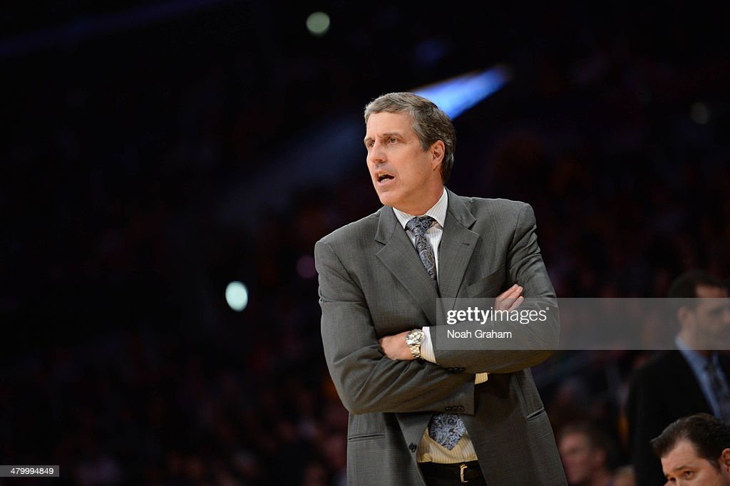 Randy Wittman of the Washington Wizards looks on during a game against the Los Angeles Lakers at Staples Center on March 21 2014 in Los Angeles...