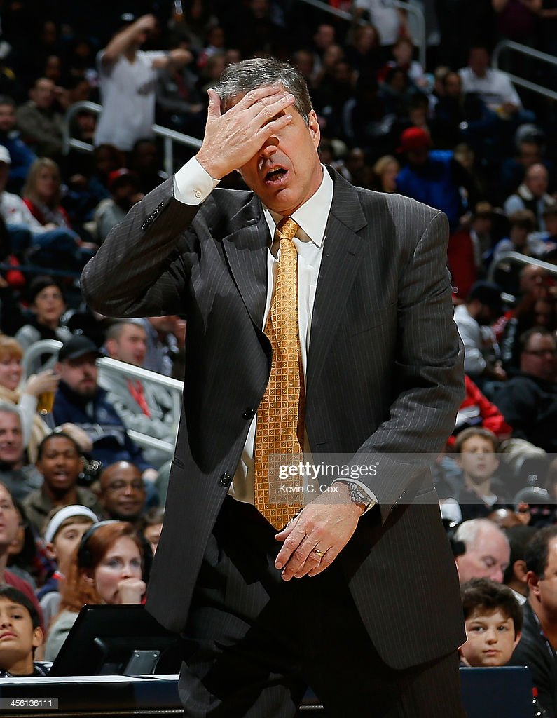 <a gi-track='captionPersonalityLinkClicked' href=/galleries/search?phrase=Randy+Wittman&family=editorial&specificpeople=679109 ng-click='$event.stopPropagation()'>Randy Wittman</a> of the Washington Wizards reacts to the referees during the game against the Atlanta Hawks at Philips Arena on December 13, 2013 in Atlanta, Georgia.
