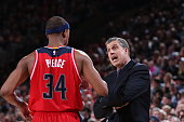 Randy Wittman of the Washington Wizards talks with Paul Pierce during the game against the Portland Trail Blazers on January 24 2015 at the Moda...