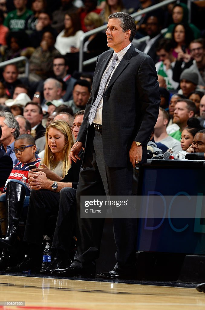 Randy Wittman of the Washington Wizards watches the game against the Boston Celtics at the Verizon Center on December 8 2014 in Washington DC
