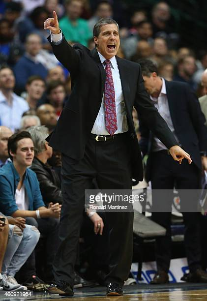 Randy Wittman of the Washington Wizards yells during play against the Dallas Mavericks at American Airlines Center on December 30 2014 in Dallas...