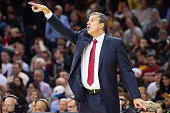 Randy Wittman of the Washington Wizards yells to his players during the first half against the Cleveland Cavaliers at Quicken Loans Arena on November...