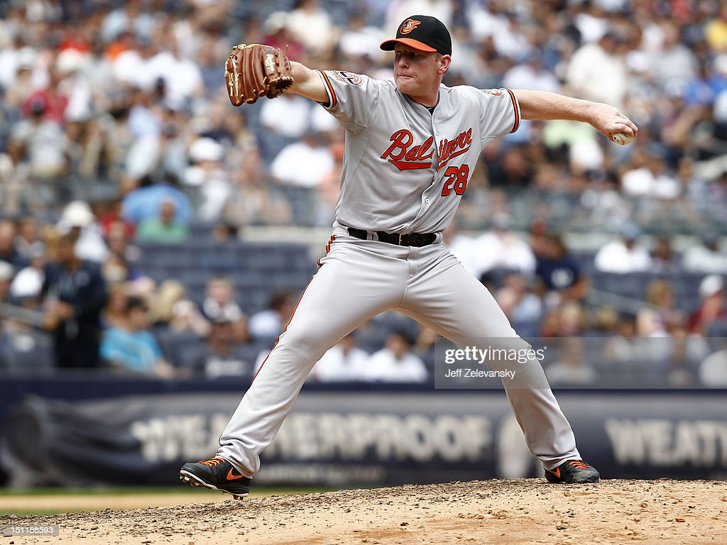 <a gi-track='captionPersonalityLinkClicked' href=/galleries/search?phrase=Randy+Wolf&family=editorial&specificpeople=212783 ng-click='$event.stopPropagation()'>Randy Wolf</a> #28 of the Baltimore Orioles delivers against the New York Yankees at Yankee Stadium on September 2, 2012 in the Bronx borough of New York City.