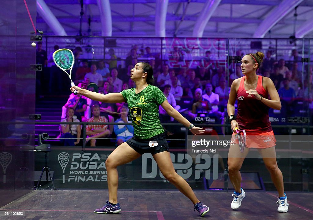 Raneem El Welily of Egypt competes against Camille Serme of France during day two of the PSA Dubai World Series Finals 2016 at Burj Park on May 25, 2016 in Dubai, United Arab Emirates.