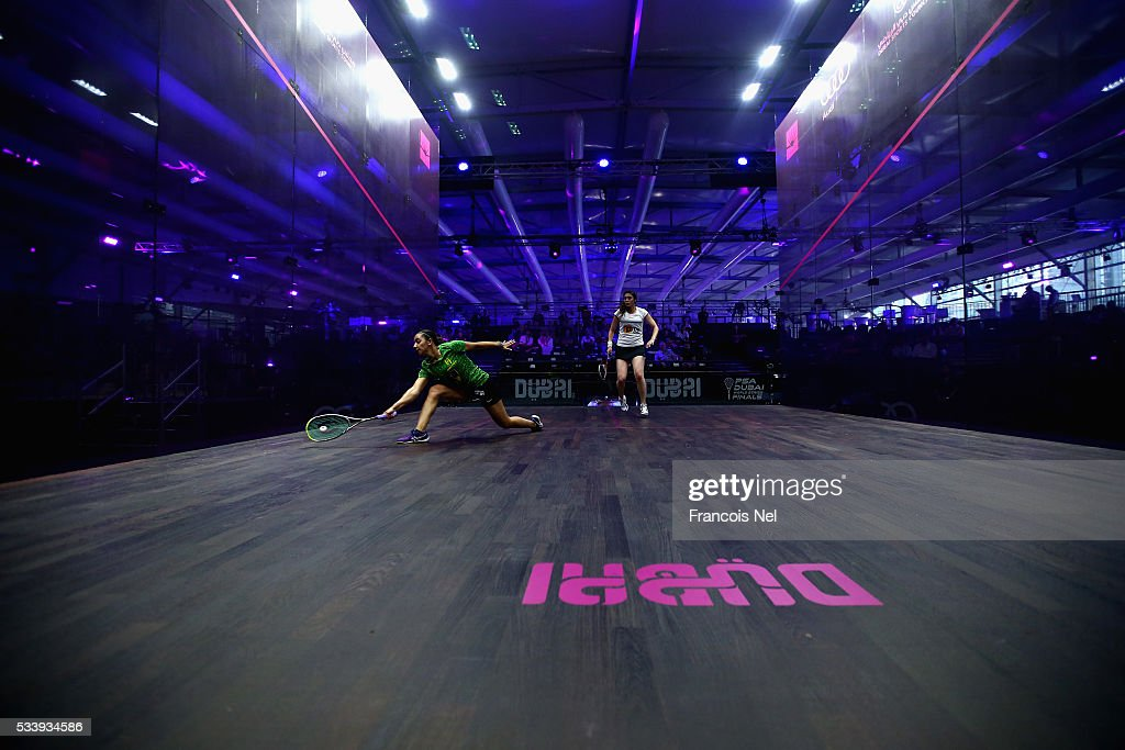 Raneem El Welily of Egypt competes against Nour El Sherbini of Egypt during day one of the PSA Dubai World Series Finals 2016 at Burj Park on May 24, 2016 in Dubai, United Arab Emirates.