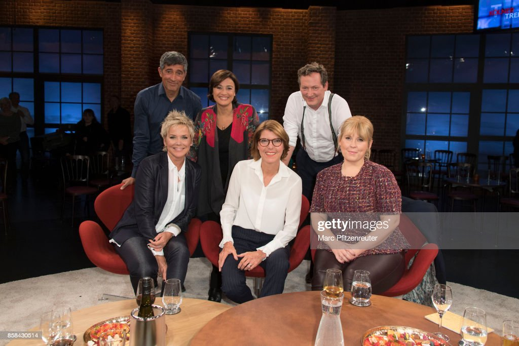 Ranga Yogeshwar, Sandra Maischberger, Eckart von Hirschhausen (front row L-R) Inka Bause, Bettina Boettinger and Maite Kelly attend the 'Koelner Treff' TV Show at the WDR Studio on October 6, 2017 in Cologne, Germany.