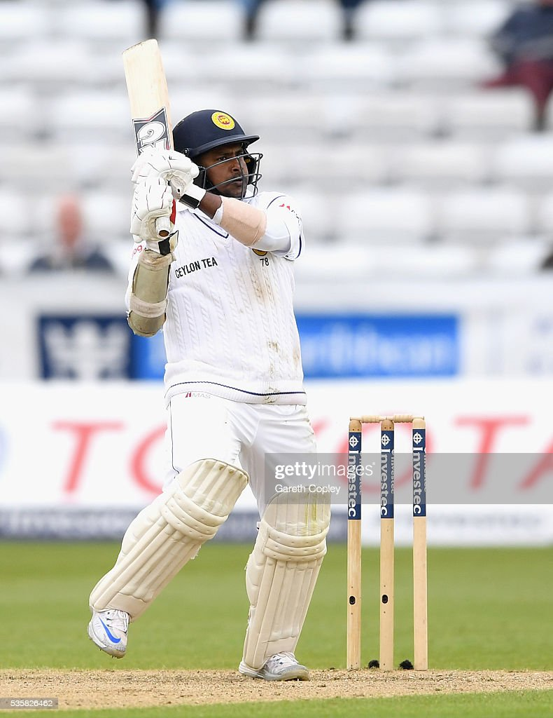 <a gi-track='captionPersonalityLinkClicked' href=/galleries/search?phrase=Rangana+Herath&family=editorial&specificpeople=2303669 ng-click='$event.stopPropagation()'>Rangana Herath</a> of Sri Lanka bats during day four of the 2nd Investec Test match between England and Sri Lanka at Emirates Durham ICG on May 30, 2016 in Chester-le-Street, United Kingdom.