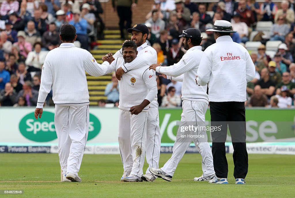 Rangana Herath of Sri Lanka celebrates taking his 300 test wicket during day two of the 2nd Investec Test match between England and Sri Lanka at Emirates Durham ICG on May 28, 2016 in Chester-le-Street, United Kingdom.