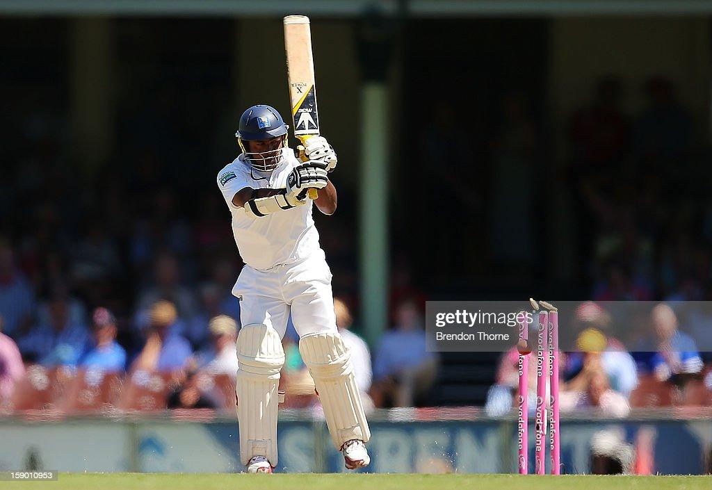 Rangana Herath of Sri Lanka is bowled by Jackson Bird of Australia during day four of the Third Test match between Australia and Sri Lanka at the Sydney Cricket Ground on January 6, 2013 in Sydney, Australia.