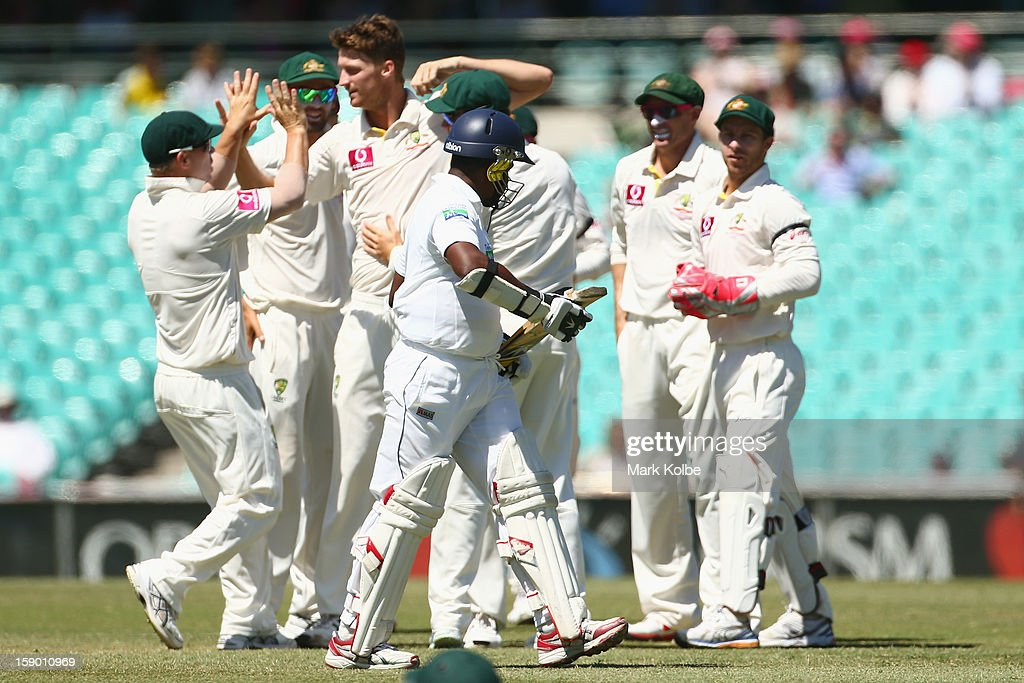 Rangana Herath of Sri Lanka leaves the field after being bowled by Jackson Bird of Australia during day four of the Third Test match between Australia and Sri Lanka at Sydney Cricket Ground on January 6, 2013 in Sydney, Australia.