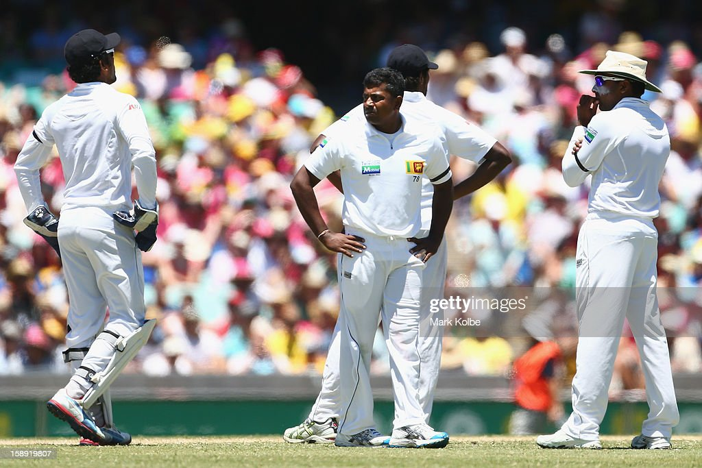 Rangana Herathand and Mahela Jayawardene of Sri Lanka wait for the decision review system outcome during day two of the Third Test match between Australia and Sri Lanka at Sydney Cricket Ground on January 4, 2013 in Sydney, Australia.