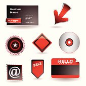 Range of business icons with card arrow and email symbol