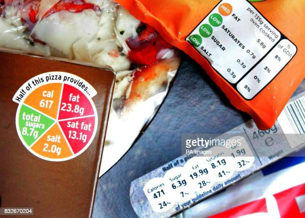 A range of labelling on packages including a pizza box from Sainsbury's with the traffic light system label and other examples of contrasting new...
