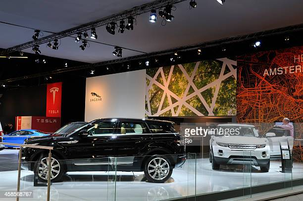 Range Rover Evoque SUV cars at a motor show