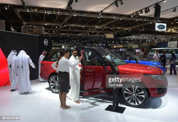 Range Rover is seen during Dubai Motor Show at Dubai World Trade Centre on November 15 2017 in Dubai United Arab Emirates