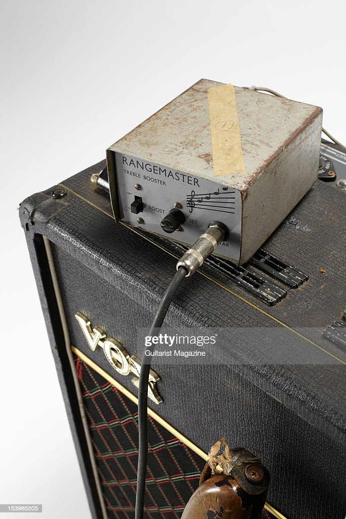 A Rangemaster treble booster and Vox AC30 electric guitar amplifier owned by the late Irish musician Rory Gallagher, photographed during a studio shoot for Guitarist Magazine, March 1, 2012.