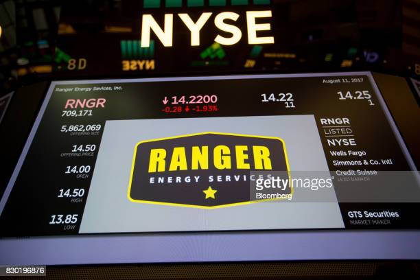 Ranger Energy Services Inc signage is displayed on a monitor during the company's initial public offering on the floor of the New York Stock Exchange...