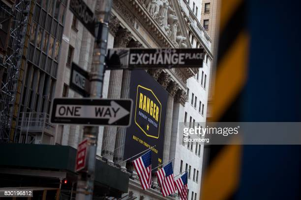 Ranger Energy Services Inc signage is displayed outside of the New York Stock Exchange during the company's initial public offering in New York US on...