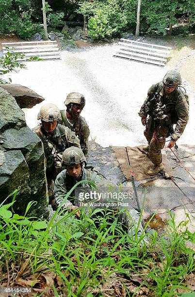 YONAH GEORGIA JULY 14 2015 Ranger students including one of the first women ever to attend Ranger School work to hoist a bag up the side of a 60foot...