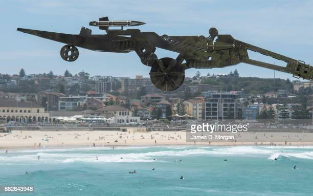 'Rangerer' by Xia Hang with Bondi Beach in the background at Sculpture By The Sea on October 18 2017 in Sydney Australia The annual art event draws...