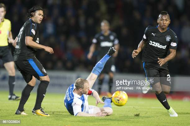 Rangers' Alfredo Morelos and Carlos Pena battle for the ball with St Johnstone's Steven Anderson during the Ladbrokes Scottish Premiership match at...