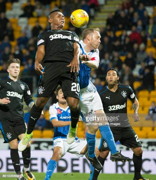Rangers' Alfredo Morelos and St Johnstone's Steven Anderson battle for the ball in the air during the Ladbrokes Scottish Premiership match at...