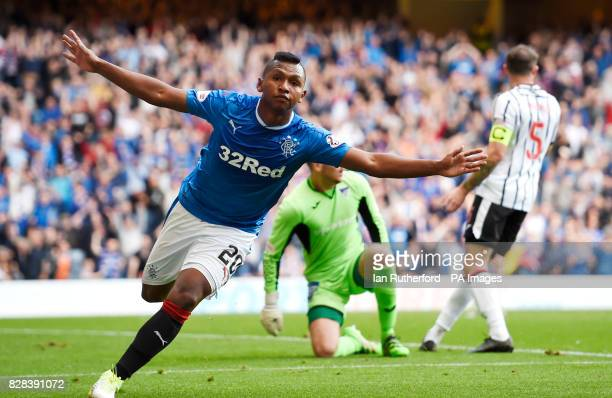 Rangers' Alfredo Morelos celebrates after scoring the third goal during the Betfred Cup Second Round match at Ibrox Stadium Glasgow