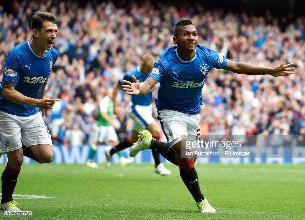 Rangers' Alfredo Morelos celebrates scoring his side's first goal of the game during the Ladbrokes Scottish Premiership match at the Ibrox Stadium...