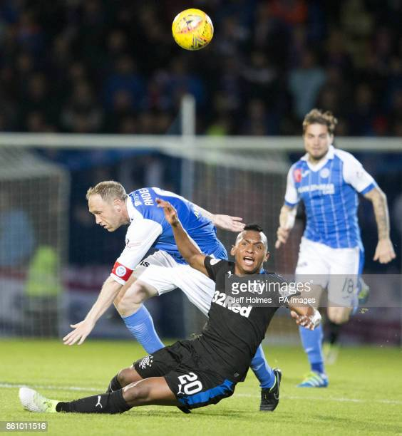 Rangers' Alfredo Morelos is brought down by St Johnstone's Steven Anderson result in sending off during the Ladbrokes Scottish Premiership match at...