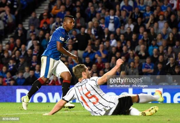 Rangers' Alfredo Morelos scores his second and Rangers sixth goal during the Betfred Cup Second Round match at Ibrox Stadium Glasgow